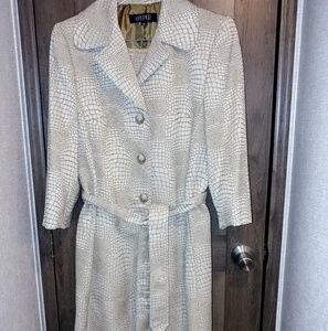 Kasper Trench Style Long Coat 2 pc Suit.